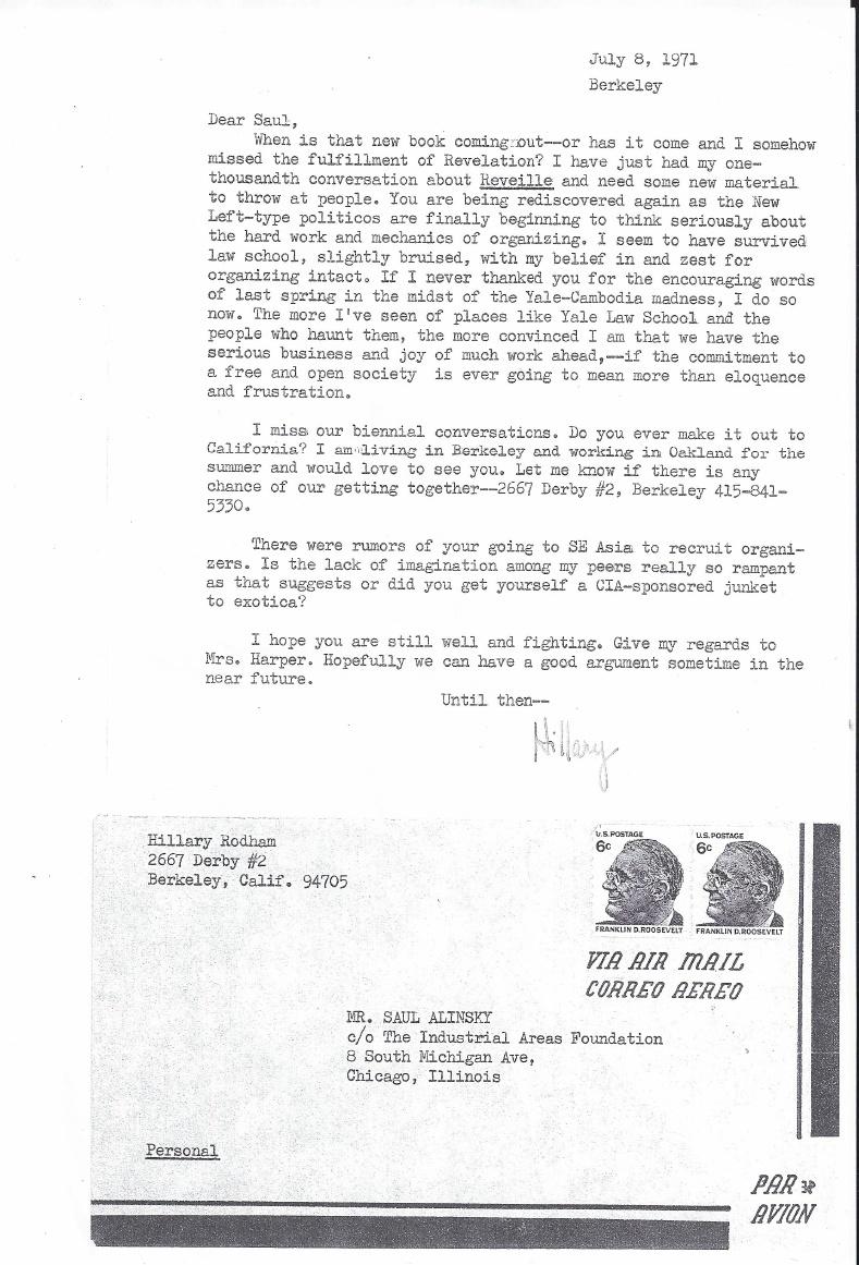 Hillary Clinton Letter to Saul Alinsky