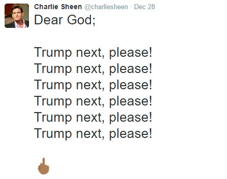 Charlie Sheen Tweet to God