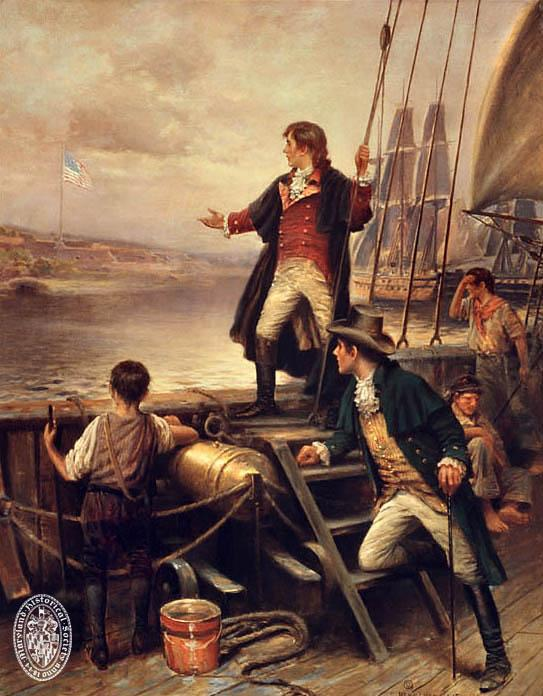 Francis Scott Key writing the Star Spangled Banner