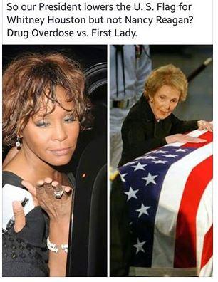 Nancy Reagan Whitney Houston Flag Flap