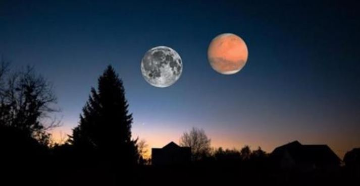 Moon and Mars Cosmic Event