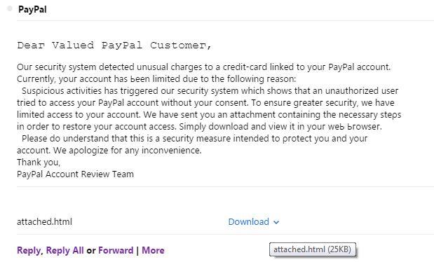 PayPal Suspicious Activity Notice