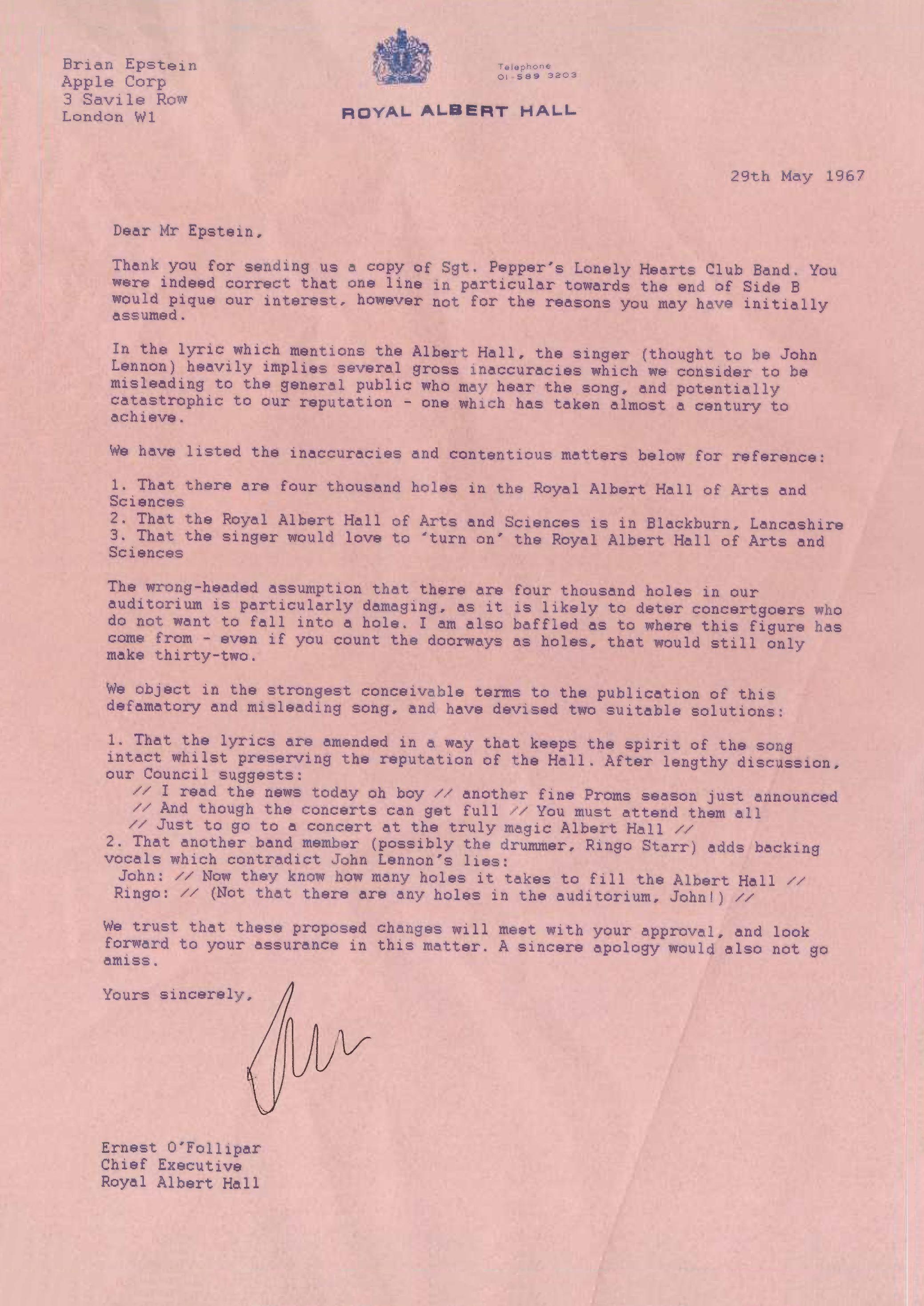 Royal Albert Hall Letter to Beatles